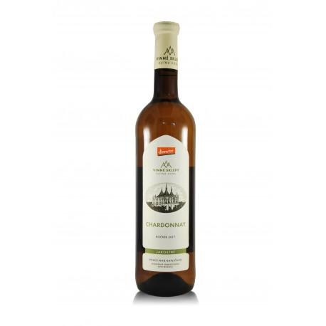Chardonnay 2017, jakostní, biodynamické víno, Vinné sklepy Kutná Hora